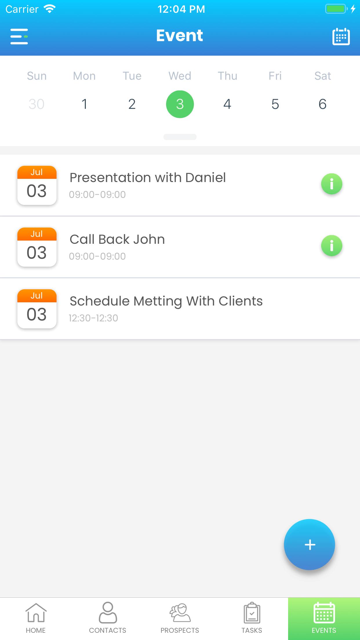 Simple Prospect App event